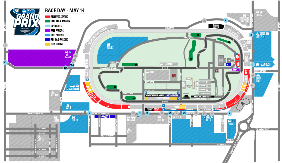 GMR Grand Prix Race Day Parking Map