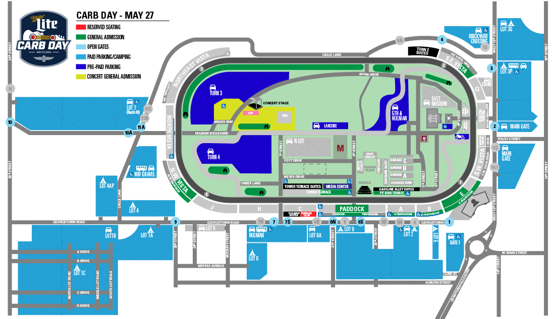 Indy 500 Carb Day Parking Map