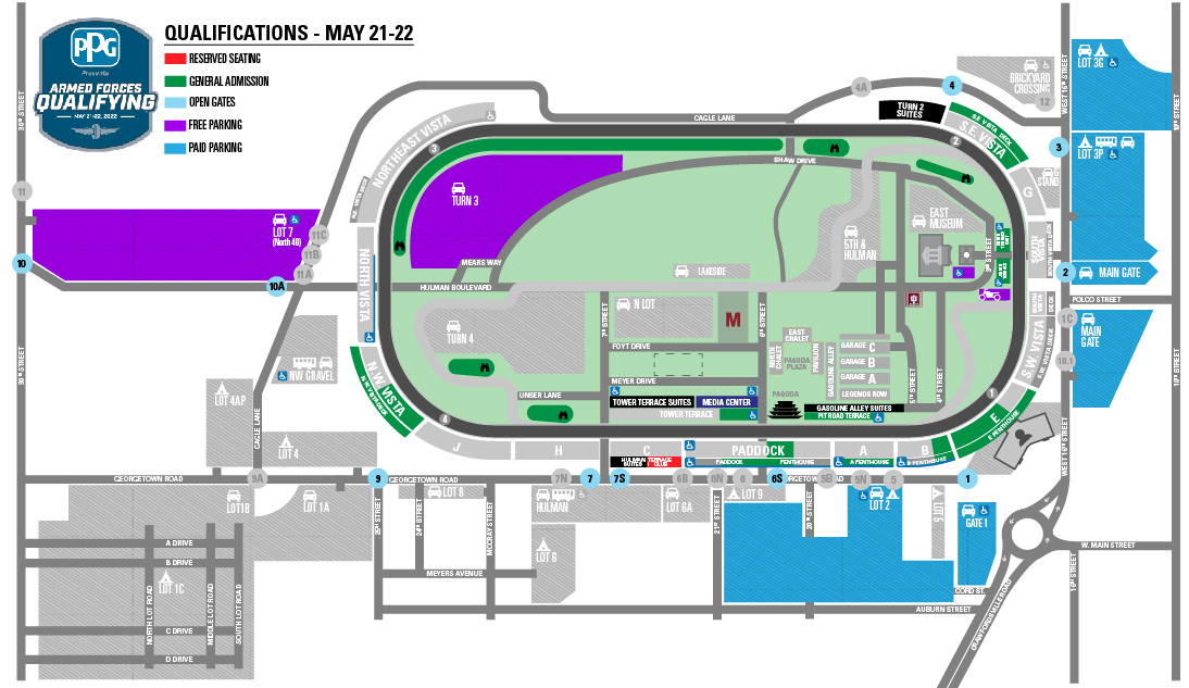 Indy 500 Qualifying Day Parking Map