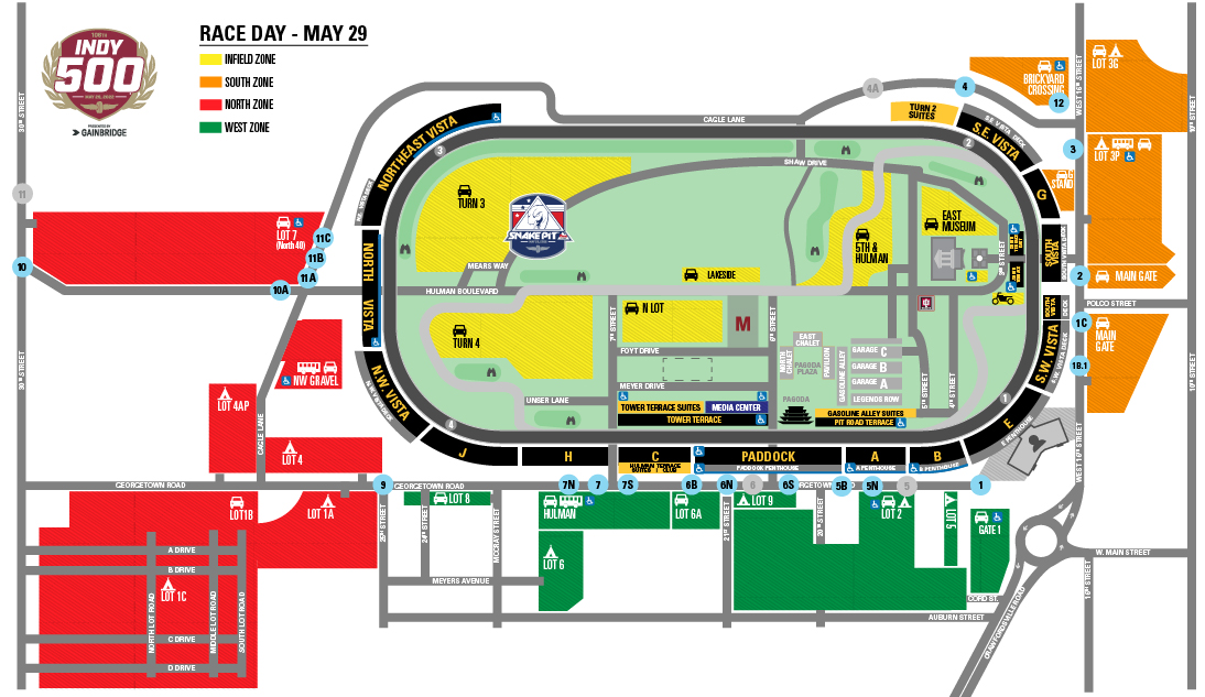 Indy 500 Race Day Parking Map