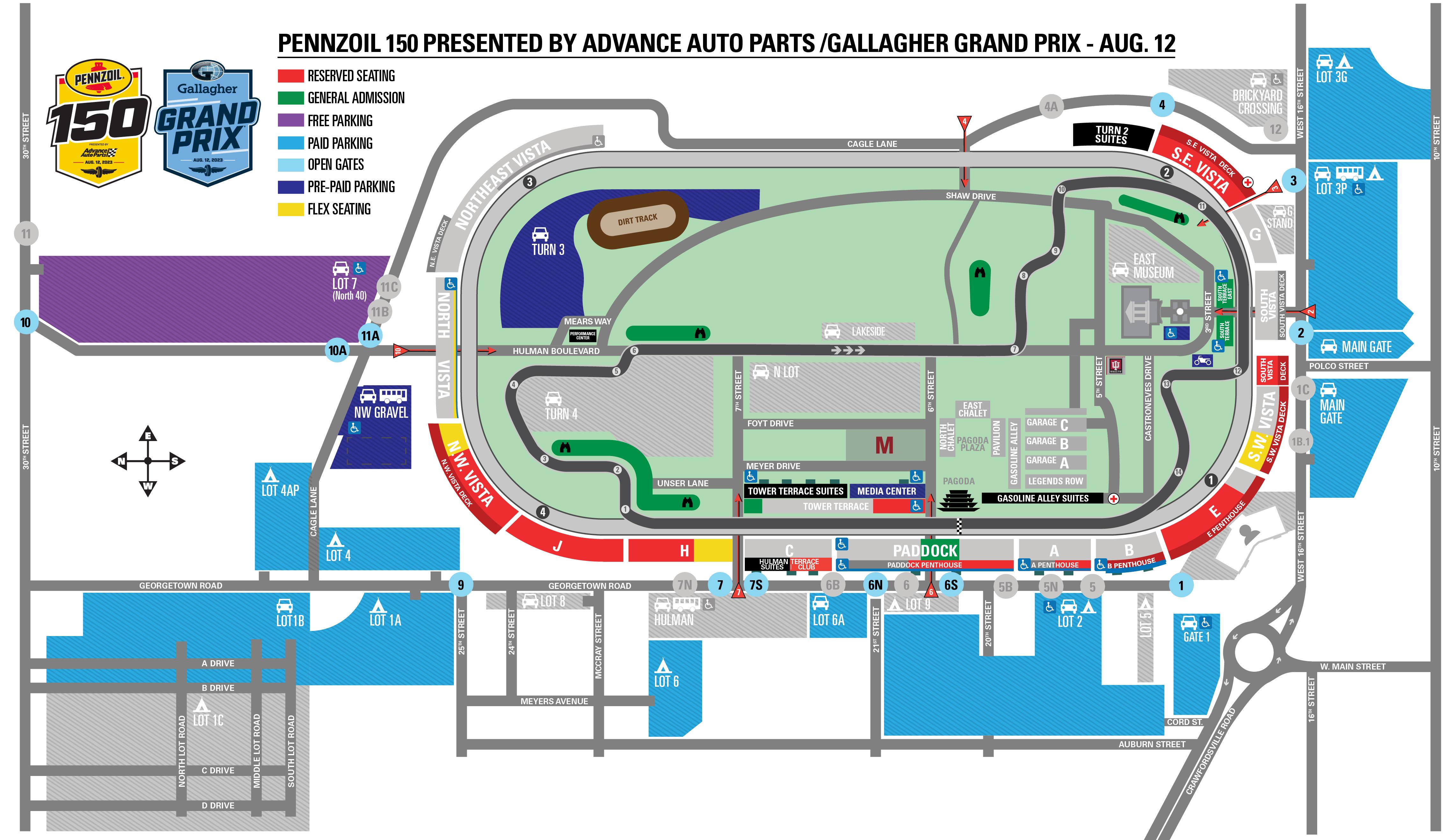 INDYCAR/XFINITY Doubleheader Race Day Map