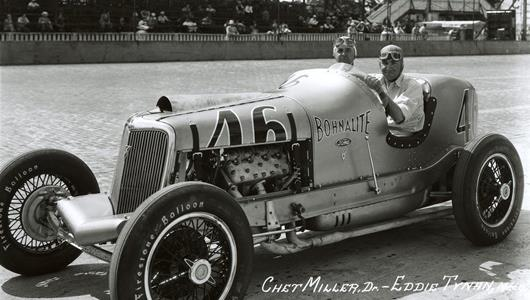 Chet Miller in the #46 Bohnalite Special (Ford/Ford V8) at the Indianapolis Motor Speedway in 1934