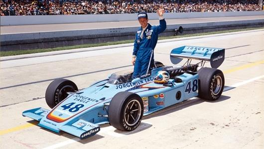 Bobby Unser in the #48 Jorgensen Eagle Special (Eagle/Offy) after qualifying for the 1975 Indianapolis 500 at the Indianapolis Motor Speedway