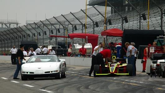 Pit lane getting ready for practice at the Indianapolis Motor Speedway on 2nd day qualifying.