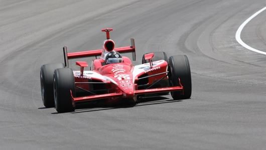 Dan Wheldon's No. 10 Target Chip Ganassi Racing team car on the Indianapolis Motor Speedway during the 90th running of the Indianapolis 500.