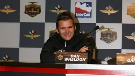Target Chip Ganassi driver Dan Wheldon meets the press at the Indianapolis Motor Speedway.