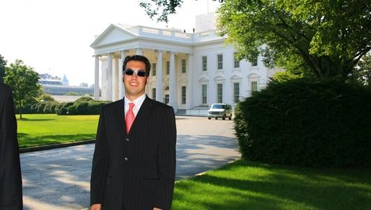Sam Hornish Jr. in front of the White House