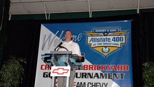 Chevrolet General Manager Ed Peper addresses the media before unveiling the Allstate 400 at the Brickyard Chevrolet Corvette Z06 Pace Car.