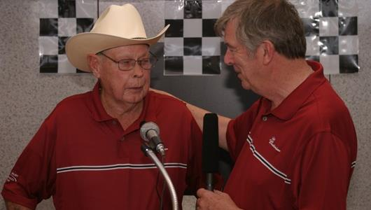 Lloyd Ruby, left, and Indianapolis Motor Speedway Historian Donald Davidson