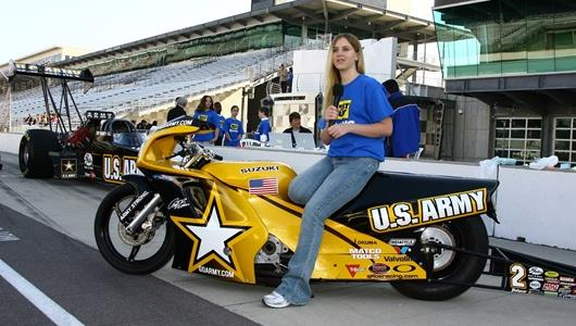 Myranda Jackson, of Laurens, S.C., discusses racing physics on the US Army Pro Stock bike during the Ball State Electronic Field Trip at Indianapolis Motor Speedway.