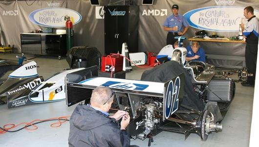 Vision Racing team prepares the 02 car for rookie orientation at Indianapolis Motor Speedway.