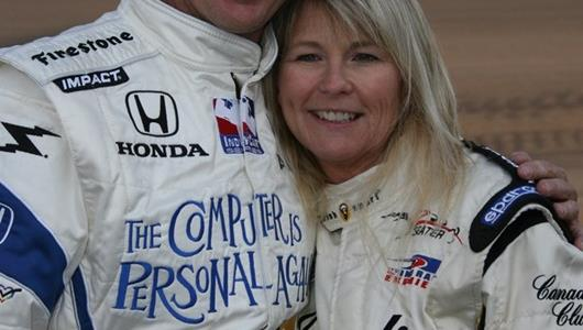 Davey Hamilton and Kristi Lee at the Indianapolis Motor Speedway on Pole Day.