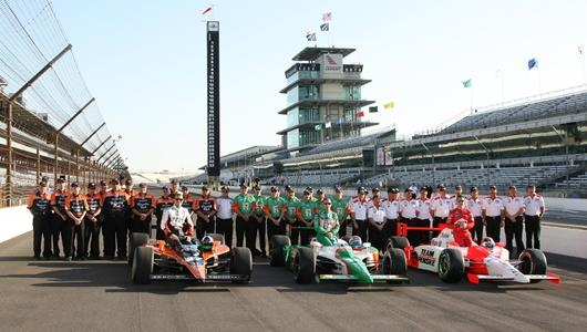 The top three Pole position leaders, Dario Franchitti, Tony Kanaan, and Helio Castroneves with their crew.