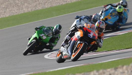 2006 MotoGP World Champion Nicky Hayden, from Owensboro, Ky., powers out of a corner.
