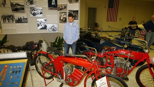 Nicky Hayden looks at an Indian motorcycle in the IMS Hall of Fame Museum