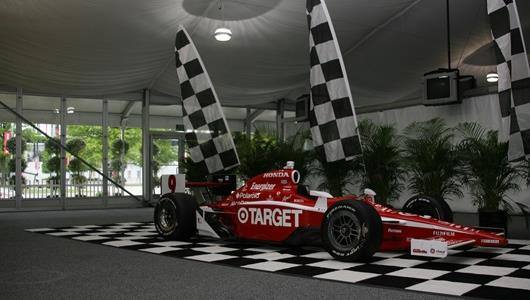 The car of #9 Target Chip Ganassi's Scott Dixon is displayed during the victory celebration.