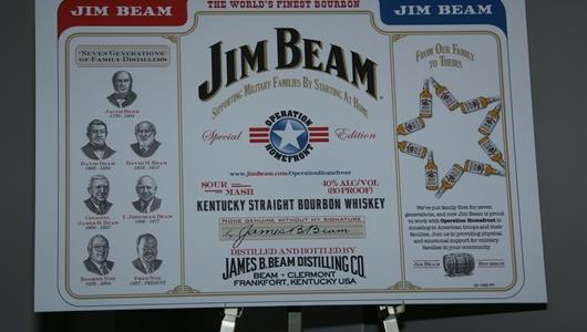 Jim Beam Operation Homefront label on display at the Indianapolis Motor Speedway.