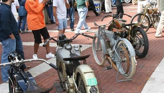 A variety of vintage motorcycles were on display.