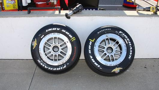 Two Indianapolis 500 labeled tires wait to leave their mark on the famed 2.5 mile oval.