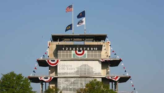 The Pagoda at IMS, with traditional bunting and patriotic flags.