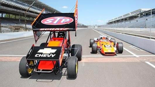Donny Schatz's sprint car that he will drive at the Knoxville Nationals, left, and Mario Andretti's 1969 Indianapolis 500 winner at IMS