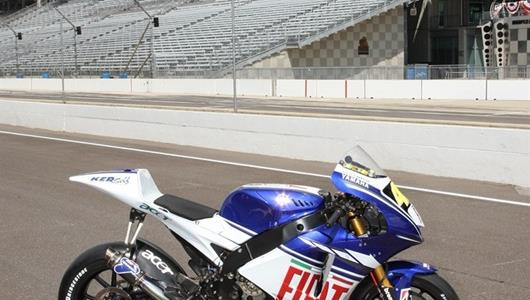 Valentino Rossi's Fiat Yamaha MotoGP bike at Indianapolis Motor Speedway's famed Yard of Bricks. The core sample in front of the bike contains 100 years of the IMS surface: from the original tar and crushed rock surface, to the famed bricks, to generations of asphalt that have carried the world's most famous drivers and riders. The second running of the Red Bull Indianapolis GP MotoGP race is Sunday, Aug. 30.