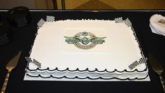The cake celebrating the 100th birthday of the Indianapolis Motor Speedway on Aug. 14, 1909.