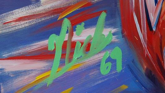 Nicky Hayden's signature on Bill Patterson's painting.