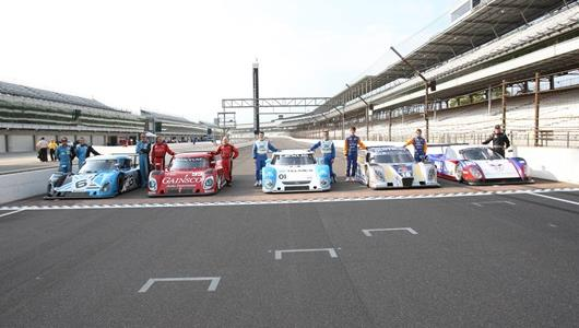 Grand-Am Daytona Prototype cars lined up on the Yard of Bricks at IMS (from left): No. 6 Michael Shank Racing Ford Riley, No. 99 GAINSCO/Bob Stallings Racing Pontiac Riley, No. 01 Chip Ganassi Racing with Felix Sabates Lexus Riley, No. 10 SunTrust Racing Ford Dallara, No. 90 Spirit of Daytona Racing Porsche Coyote.