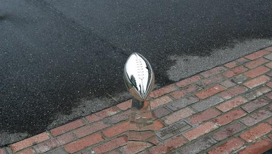 The Vince Lombardi Trophy on the Yard of Bricks.