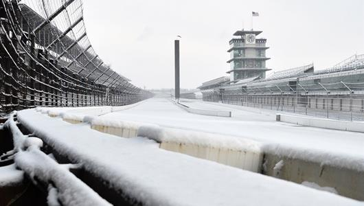 View from turn 1 at IMS during winter