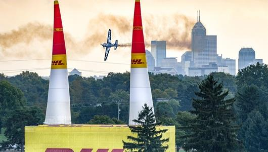 Red Bull Air Race practice day at the Indianapolis Motor Speedway Friday, Oct. 5 with the Indianapolis skyline in the background.