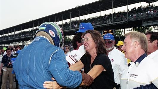 Mari Hulman George embraces Willy T. Ribbs in 1991 after he became the first African-American to qualify for the Indianapolis 500
