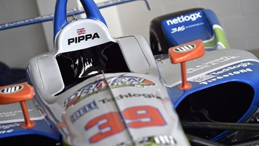 Close up of the No. 39 Indy car that was crafted in memory of beloved IndyCar driver and USAC champion Bryan Clauson.