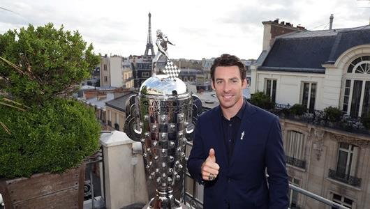 2019 Indianapolis 500 Champion Simon Pagenaud unveils his likeness on the Borg-Warner Trophy in Paris, France.