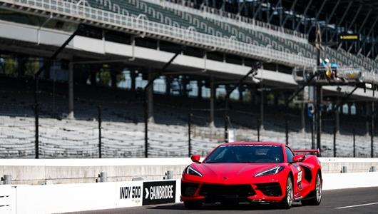 2020 Chevrolet Corvette Stingray pace car during Indianapolis 500 Miller Lite Carb Day at the Indianapolis Motor Speedway Friday, August 21, 2020
