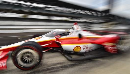Scott McLaughlin blasts out of his pit box in the No. 3 Team Penske Chevrolet at the Indianapolis Motor Speedway during offseason INDYCAR testing Wednesday, Oct. 29.