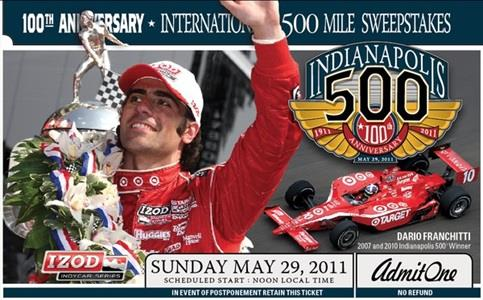 2011 Indy 500 Ticket Features Franchitti, 100th Anniversary