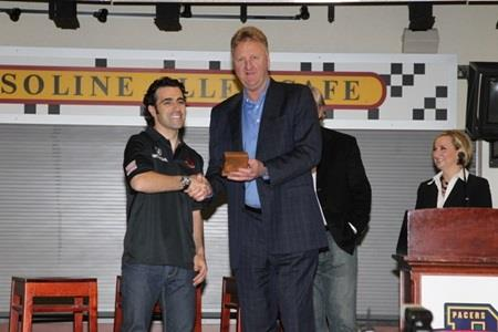 Basketball Legend Bird Presents '500' Winner's Ring To Franchitti