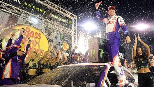 Denny Hamlin Celebrating Bristol Victory