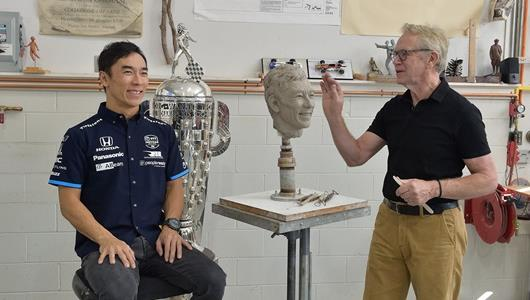 Sato Savors Second Trip To Sit for Borg-Warner Trophy Sculptor