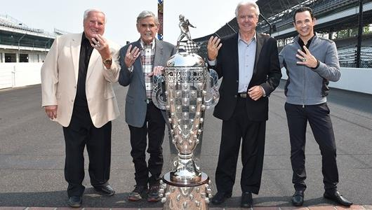 A.J. Foyt, Al Unser, Rick Mears and Helio Castroneves