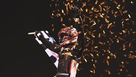 Larson Endures Late Bump To Win BC39, Complete IMS Dirt Sweep