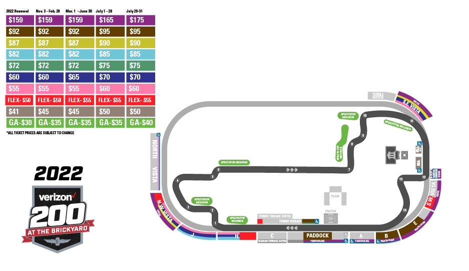 Brickyard 400 Pricing Map
