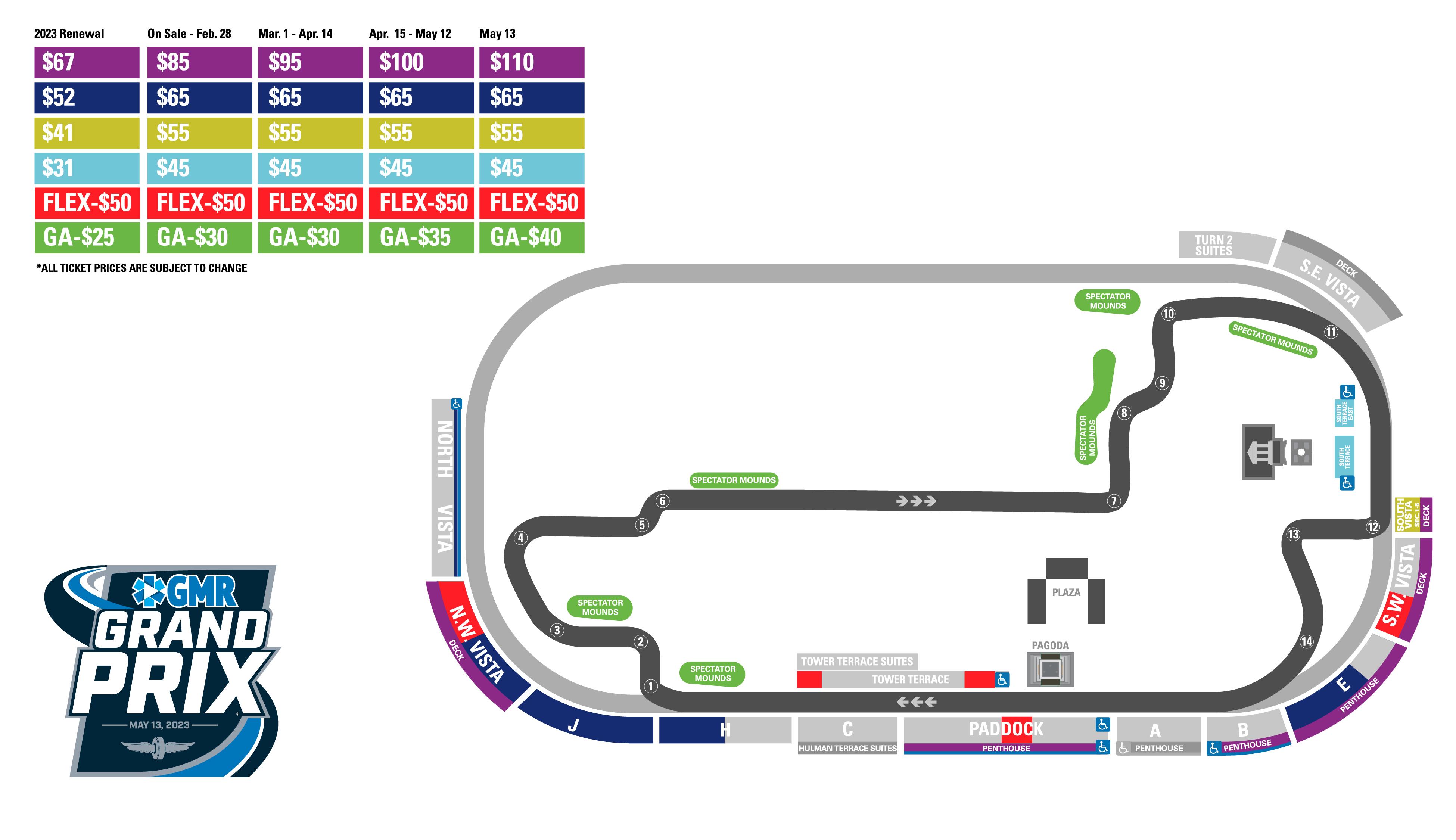 INDYCAR Grand Prix Price Map